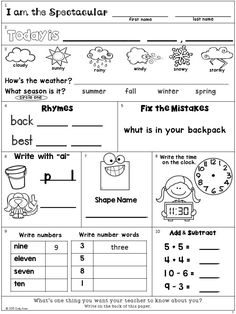 Second Grade Morning Work Freebie: Addition, subtraction, shapes, time, numbers, number words, rhymes, punctuation, weather, date and seasons.