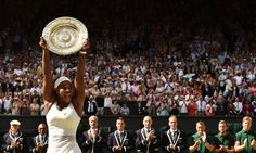 Serena Williams celebrates with the winner's trophy, the Venus Rosewater Dish, after her women's singles final victory in the 2015 Wimbledon Championship Photograph: Leon Neal/AFP/Getty Images