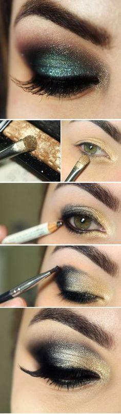 Preto + verde esfumado #beauty #makeup #maquiagem #tutorial #smokeyeye