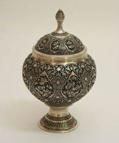 Beautiful Persian lidded dish / Ghalam-zani: is one of the original persian handicraft / the art of engraving and embossing elaborate designs, patterns and shapes on metals such as copper, silver, gold, and brass.