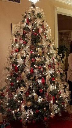 29 best ribbon on christmas tree images xmas christmas ornaments rh pinterest com