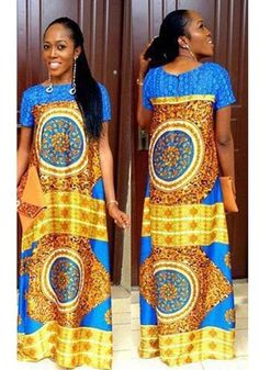 Available Sizes : M;L Waist(cm) : Length(cm) : Type : Loose Material : Dacron Color : Multicolor Decoration : Draped, Print Pattern : Floral Collar : Collarless Length Style : Floor Length Sleeve Length : Elbow Sleeve Traditional African Clothing, Traditional Outfits, Latest African Styles, Dashiki Dress, African Fashion Designers, African Dresses For Women, African Fabric, Summer Dresses For Women, Clothes For Women