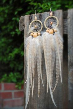 White Room  Feather Dream Catcher Earrings by ShopCaravanCurrent