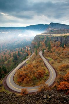 'Tight Corner' - Autumn colors surround a hairpin turn coming down from Rowena Heights in Oregon .Oregon by Mike Dawson.