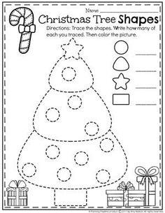 Christmas Tree Shapes Worksheet for Preschool.