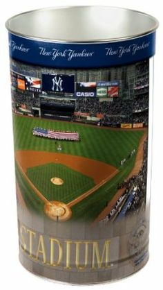 """MLB New York Yankees Wastebasket by WinCraft. $19.99. 15 inches tall by 10.5 inches in diameter. Made in the USA. Durable, heavy-gauge metal. Great for Home, Dorm or Office. Officially licensed wastebasket. These metal wastebaskets are a great way to decorate a room or office. Wastebaskets are 15"""" tall by 10.25"""" diameter and are tapered for easier storage. Made in USA.. Lithographed team graphics wrapped around tapered can."""