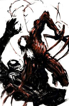 I got a print of this incredible peice. Carnage vs. Venom etched out of black-painted glass with some red thrown in.