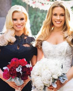 """CaCee, who carried a cloud of white peonies, wore a gown by Kenneth Pool. """"I had wanted something simple I could wear with flats,"""" she said. """"But I fell in love with the most over-the-top poufy dress.""""Maid of honor Jessica Simpson held peonies, roses, and amaryllis that popped against her black Monique Lhuillier dress."""