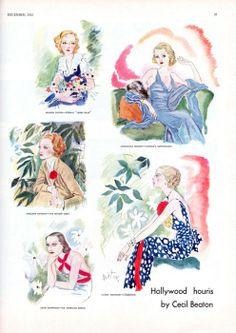 """Hollywood's """"houris"""" of the early 1930s: clockwise from left, the """"eternal 'jeune fille'"""" Marion Davies; """"cinema's sophisticate,"""" Constance Bennett; """"l'élégante"""" Lilyan Tashman; """"an American exotic,"""" Joan Crawford; and the """"Teuton siren"""" Marlene Dietrich. Illustrations by Cecil Beaton, from the December 1932 issue."""