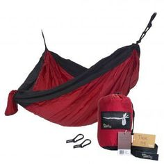 Hobo Hammocks Portable Double Camping Hammock (Webbing Straps And Carabiners Included For Hanging) Red And Black Parachute Nylon >>> Check this useful article by going to the link at the image. Eno Hammock, Portable Hammock, Hammocks, Camping Hammock, Double Hammock, Camping Furniture, Camping Games, Helping The Homeless