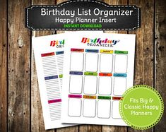 Colorful Rainbow Birthday List Organizer / PRINTABLE Birthday Card Planner /  Big & Classic Happy Planner Insert - INSTANT  DOWNLOAD