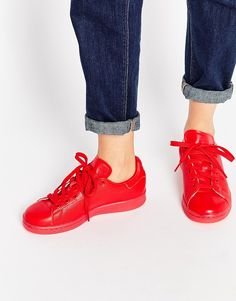 Buy adidas Originals Stan Super Colour Scarlet Red Trainers at ASOS. With free delivery and return options (Ts&Cs apply), online shopping has never been so easy. Get the latest trends with ASOS now. Sneakers Looks, Sneakers Mode, Red Sneakers, Sneakers For Sale, Girls Sneakers, Sneakers Fashion, Fashion Shoes, Fashion Tips, Sneaker Outfits