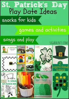 St. Patrick's Day Party ideas for a play date. Snacks, games, activities, crafts.