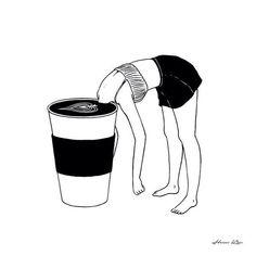 Bom dia! Mergulha no café e força pra mais um dia! Com bom humor! Ilustração @henn_kim #bomdia #café #acorda #bynina #instabynina by instabynina