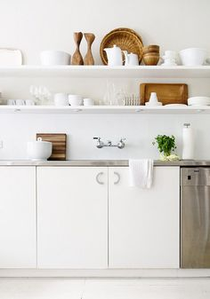 White on white open shelving.