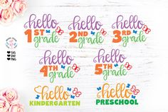 School Grades Cut File Bundle available in SVG, DXF and PNG. Includes all School Grades in different files for easy application. A closer look at the file School Grades, School School, Lesson Planner, First Grade, Second Grade, Fourth Grade, First Day Of School, Logo Templates, Design Templates