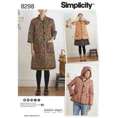 """Dottie Angel pre-quilted fabric coat and jacket sized XS to XL features pocket variation, contrasting elbow patches, with hood or mandarin collar options. Edges are finished with 1/2"""" wide double-fold bias tape. Pairs perfectly with buttons or toggle closures. Look for double-faced pre-quilted fabrics. Dottie Angel for Simplicity sewing patterns."""
