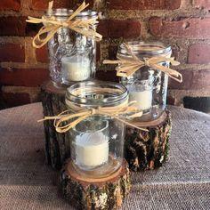 rustic mason jar lights hoder and tree trump camo wedding centerpieces ideas