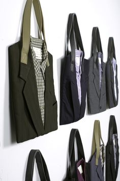 Old suits made into tote bags.