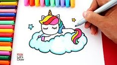 Aprende a dibujar un unicornio arcoiris sobre una nube estilo kawaii kidsletsdraw 365 Kawaii, Arte Do Kawaii, Kawaii Diy, Kawaii Room, Kawaii Stuff, Kawaii Anime, Page Borders Design, Border Design, Disney Drawings