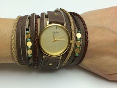 Unique Women's Watch in Brown Leather Colors And Blank Plate-Women Watches-Watch-Women's Watches-Wrap Watches-Wrap Watch-Ladies Watch by SigalLeviLeather on Etsy