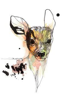 illustration of a dear, ink and watercolor, print, framed, found on easy.com/wandgeschichten