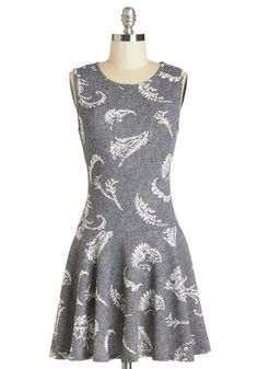 Acoustic Hour Dress. With a spin in this frond-printed dress, you skip onto the stage with a smile. #greyNaN