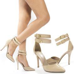 Pointy TOE Double Ankle Strap Buckle Stiletto High Heel Pump Shoe Sandal US 5 11 | eBay