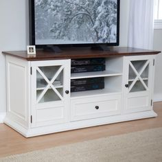 The Hampton 55 inch TV Stand - White/Oak: Furniture : Walmart.com