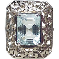ITEM: Victorian Aquamarine Ring circa 1840's  COMPOSITION: Sterling Silver GEM: Aquamarine, emerald cut measuring 11.5 X 8.7 mm = 4.75 carat by