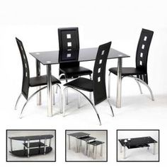 Bizet 4 Seater Dining Room Set In Black Glass And Chrome