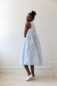 Bergfabel Apron Dress in sky poplin cotton poplin. A unique take on a simple apron dress style with a gathered front and back and underarm gathers. Dress Outfits, Cool Outfits, Fashion Dresses, Apron Dress, Dress Up, Clothes Rail, Poplin Dress, Minimal Fashion, Beautiful Outfits
