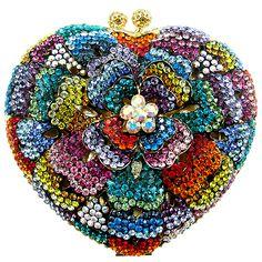 Swarovski Crystal Heart Shape Flower Bag Dark Multi