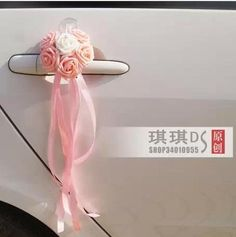 Cute chic PE simulation rose door handles delicate dress wedding car decorated room