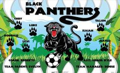 Panthers-Black-47331 digitally printed vinyl soccer sports team banner. Made in the USA and shipped fast by BannersUSA. www.bannersusa.com