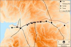 A map showing the Stanegate. The line later followed by Hadrian's Wall is represented by a dashed line.