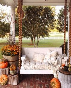 Our favorite front porch and a beautiful swing! 😍 This looks like the perfect spot to enjoy a cozy day! TAG a friend… Farmhouse Homes, Farmhouse Style, Farmhouse Decor, White Farmhouse, Modern Farmhouse, Fall Home Decor, Autumn Home, Outdoor Spaces, Outdoor Living