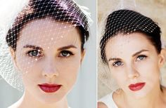 love this lip color! 21 Stunning Birdcage Bridal Veils | OneWed