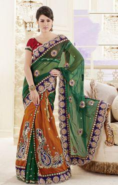 USD 122.72 Green and Rust Net Deigner Wedding Lehenga Saree 32153