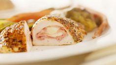 Healthy (and KETO--only 1g carbs!) Chicken Cordon Bleu.