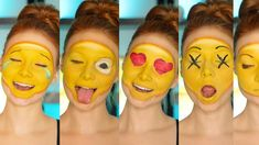 Who doesn't love an emoji? From Seventeen magazine, here's a tutorial for the perfect emoji makeup. Costume Emoji, Emoji Halloween Costume, Halloween Makeup, Funny Halloween, Couple Halloween, Halloween 2017, Halloween Ideas, Costumes For Teens, Diy Costumes