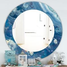 Designart 'Water III' Traditional Mirror - Oval or Round Wall Mirror - Blue ( Traditional Wall Mirrors, Contemporary Wall Mirrors, Round Wall Mirror, Wall Mounted Mirror, Blue Mirrors, Vanity Mirrors, Glass Center, Mirrors Wayfair, Home Decor Trends
