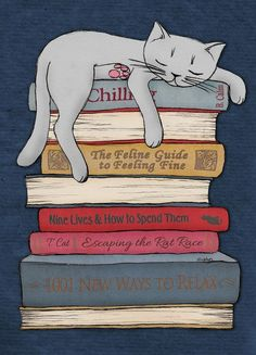 How to Chill Like a Cat Art Print. by Micklyn #CatArt #CatIllustration