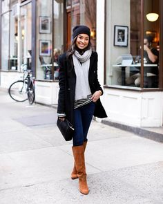 www.littlerugshop.com Classic winter style on withlovefromkat.com today! @liketoknow.it www.liketk.it/27B9V #liketkit #ootd #beanie #brownboots #peacoat #winterstyle by kattanita