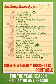 Create a Family Bucket List with the fun prompts on this handy printable
