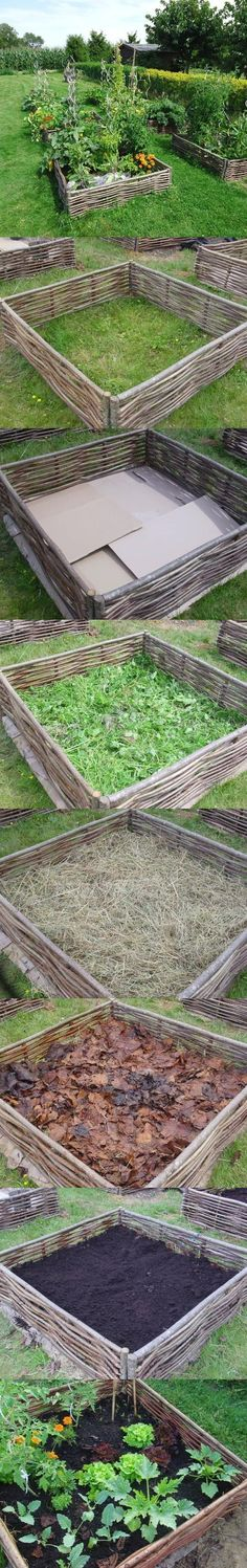 building lasagna raised bed garden--garden right on top of compost