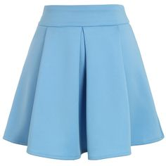 Chicwish Cheering Blue Mini Skater Skirt (56 BAM) ❤ liked on Polyvore featuring skirts, mini skirts, bottoms, saia, blue, blue mini skirt, pleated skater skirt, blue skater skirt, short skirts and mini circle skirt