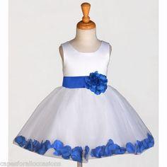 White Royal Blue Formal Holiday Kids Wedding Flower Girl Dress 12 18M 2 4 6 8 10 | eBay