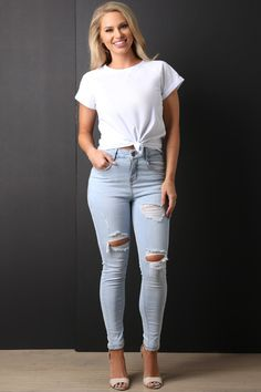 bbf9d6961ed Light Wash High Waisted Distressed Denim Jeans. Romper With SkirtDress ...