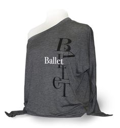 Gray Ballet Top. - Upscale flowy ballet shirt for leotard cover up.  Wear this top for ballet or contemporary class or rehearsal.